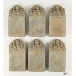 Six Terracotta Yuan to Ming Dynasty Cave Temple Ceiling Bricks, c. 1279-1644,