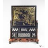 A Wooden lacquered Qing Dynasty Table Screen and Stand, c. 19th Century