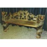 Bench made of wood with very nice carvings of Brienz