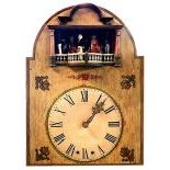 BlackForest Flute Clock with 2 Dancing Dolls and 6 Men