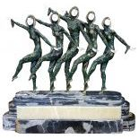 Art Deco Figured after Chiparus showing 5 Dancing Girls