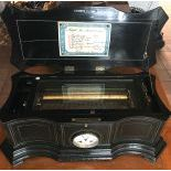 Mandoline Cylinder Musical Box, made in Geneva, with a clockwork in the front of the case