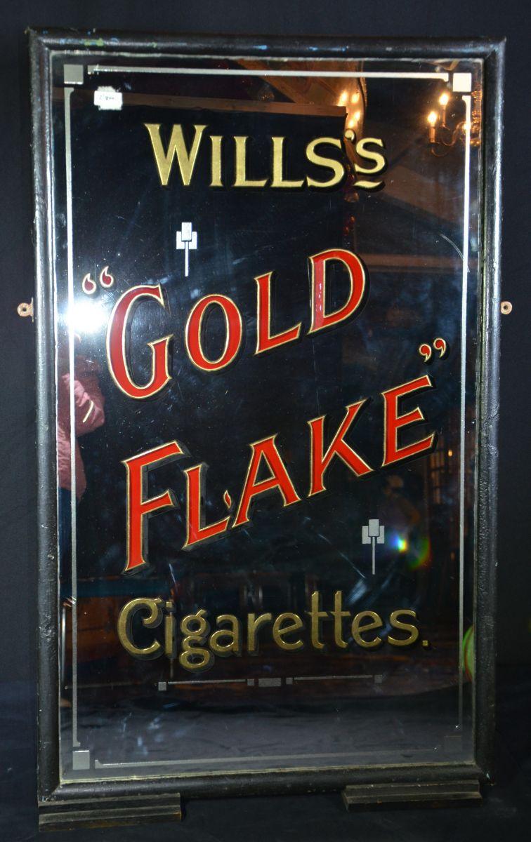 Antique Advertising Mirror Willss Gold Flake Cigarettes