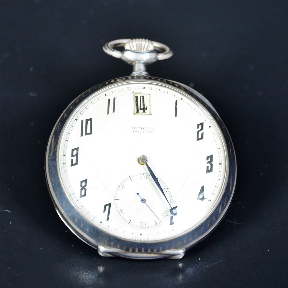 Silver pocket watch. Silver plated clock face. Signed Discous Patent. Very good condition. From the...