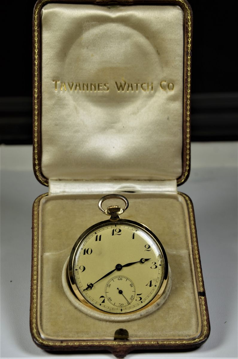 18ct gold pocket watch  TVANNES WATCH  With original box.
