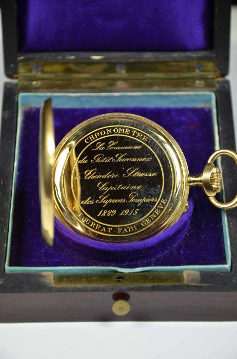 18ct gold chronometer pocket watch Pourrat Geneve signed. Micrometric regulation. In original box