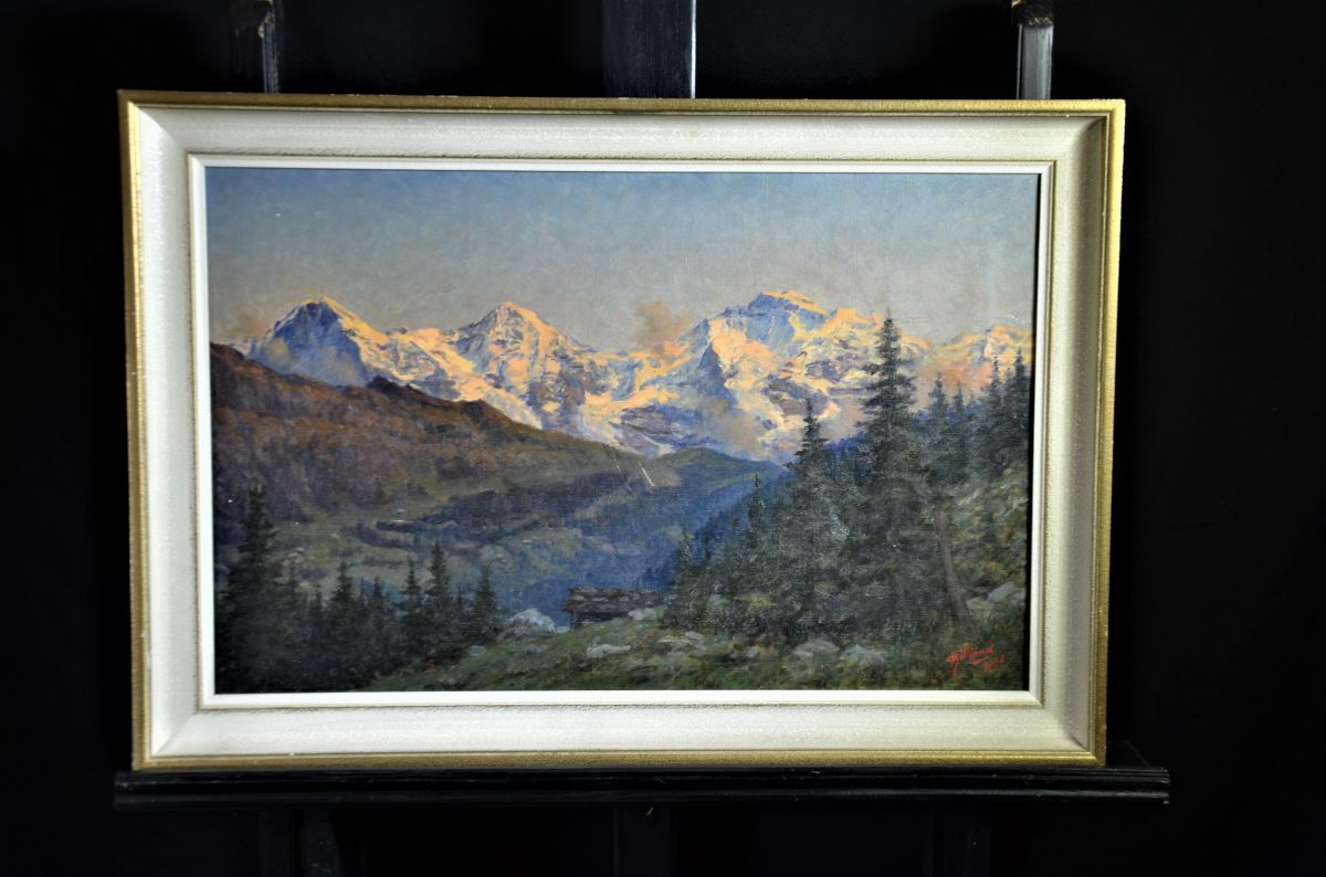 Vincent Aimé Gilland, 1884 - 1942, oil on canvas mountain masiff. Signed right bottom and dated...