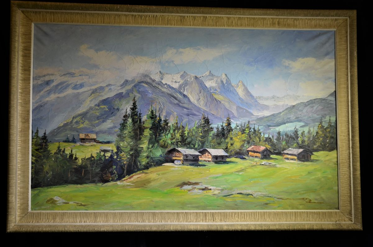 Oil on canvas, signed Ghitteri mountain landscape. 68 x 110cm.