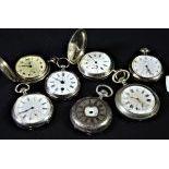 7 montres de poche, en argent, dont 2 Longines.