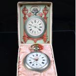 Pocket watch with enameled clock face. small second hand at 6 h. With box. Good condition