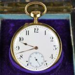18ct gold chronometer pocket watch Pourrat Geneve signed. Micrometric regulation. In original box