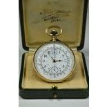 18ct gold pocket watch LIP Chronograph with counter. Box. Very good condition.