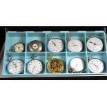 Lot de 10 montres de poche dont 3 compteurs, 3 du 18e en argent, 1 réveil, 2 ZENITH et 1 HEBDOMAS 8...