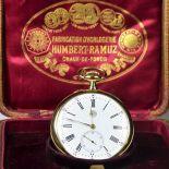 18 carat gold pocket watch. Signed Humbert Ramuz Chaux-de-Fonds, diameter 52 mm. Original box. Ca....