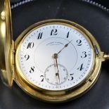 18ct gold savonette pocket watch LANGE and SOHNE Glassworks. Heavy case. No. 2,882. Enameled clock...