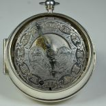 Single-hand pocket watch in bulb shape with 2 clock-faces. Front shows time and moon phase and back...