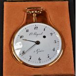 18ct Gold pocket watch. With hour and quarter repetition and music, signed Pierre Ricaud Genève. Ø...