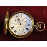18ct gold savonette pocket watch. Minute repetition with double calendar. Signed Beaver Cross.No....