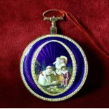 Rose gold pocket watch with pearls. Diameter 56 mm. Fantastic enamel painting. Perfect condition....
