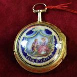 18ct gold pocket watch.3 colors. Enamel and pearls. Bell  strikes the quarters.  Diameter 55mm....