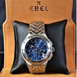 Chronograph completely made of steel EBEL El Primero. Blue clock face. Ø 41mm. With box.