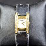 18ct gold wristwatch EBEL 30 gr nacre clock face with diamonds. Folding clasp. Model Beluga....