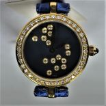 GERALD GENTA watch in 18ct gold and diamonds. Clasp in gold with diamonds. Old new stock