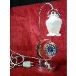 Really rare Art Déco chromed lamp with pocket watch. Enameled clock face. Minute repetition on...
