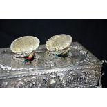 Very rare songbird box with 2 singing birds. Silver 925. Very good condition. Ca. 1900