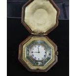 Travel clock in silver, enameled. With suitcase. Ca. 1900