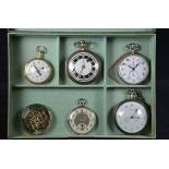 Box with five watches. One of which Chronograph Jaeger, one silver Chronometer Geneve, one gold with...