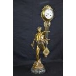 Rare pendulum with 8 day striking mechanism, flawless condition, bronze, an Adonis holds the free...