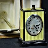Travel Clock  MATHEY TISSOT  in original case. Gilded 935 silver. Enamelled and with Guilloche...