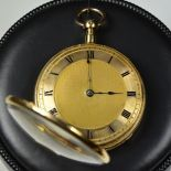 18 ct Rosé Gold pocket watch. Guillochierted case with golden clock face. Quarter repeater and...
