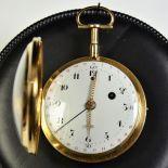 18ct gold pocket watch.  Enamel and calendar. Strikes every quarter - hour. Diameter 52 mm. Very...