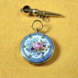 18 ct gold and enamel miniature pocket watch. André Liodet Genève signed. No 5919 Diameter 21 mm...