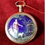 Rose gold and enamel pocket watch. Hourly and quarter hourly repeater. Skeleton movement. Signed...