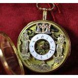 18ct gold pocket watch. JACQUES MART Quarter-hour repetition. Skeletal. Enamel medallion...