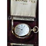 RARE montre de poche savonnette répétition minute LONGINES en or rose 18ct, Ø 54mm. Boîte à...