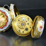 18ct gold  and enamel pocket watch. Double case. Diameter 45 mm. For the Turkish market. 18th...