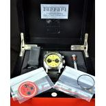 Steel chronograph PANERAI, manufactured for Ferrari with various accessories. With 2 clock faces and...