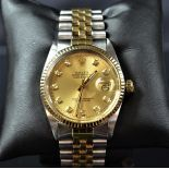 Two-tone automatic wristwatch ROLEX. Champagne tone clock face with diamonds. Ø 36mm. Revision...