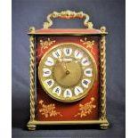 Très jolie pendulette Le Castel à poser, cadran en laiton à chiffres romains, sonnerie sur...