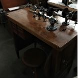 Very beautiful watchmaker work bench made of iron. Functions with pedal drive over wooden wheel.