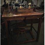 Very beautiful watchmaker work bench with turning lathe and saw. Pedal driven. 125x98x100cm