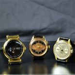 Lot with 2 chronometers made of 18ct gold and one HEBDOMAS made of gilded silver.