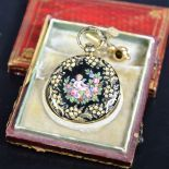 Enameled gold pocket watch. Cylindrical escapement with silver clock face. Gold box and key.