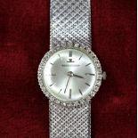 Montre bracelet JAEGER LECOULTRE, en or blanc 45 g, diamants. Remontage manuel, Ø 25mm....