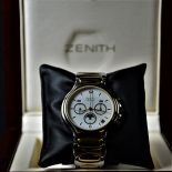 Two-tone Automatic chronograph ZENITH, Model Academy. With triple display and moon phase. Ø 39mm....