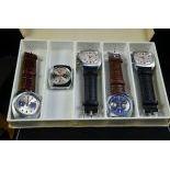 5 wristwatches Chronograph. Caliber 773 Valjoux. New and unworn